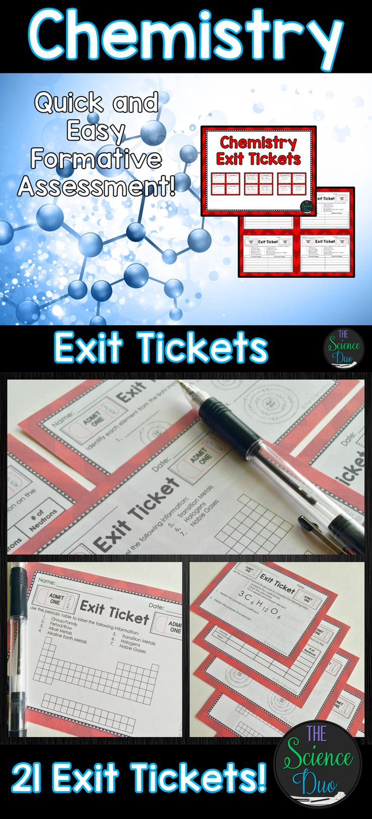 Chemistry Exit Tickets (Exit Slips) are the perfect formative assessment activity for your students. They are quick, easy to use, and data driven. This resource contains 21 different exit ticket activities (4 per page) covering a large variety of chemistry concepts