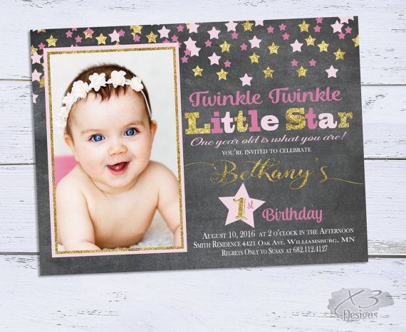Twinkle Twinkle Little Star Birthday Invitation, Twinkle Twinkle Invitation, Girl 1st Birthday, Chalkboard Pink and Gold Printable Invites by X3designs