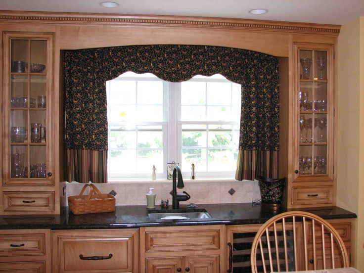 Curtains For Kitchen Window Above Sink Part - 39: Ravishing Faux Silk Double Kitchen Curtain Ideas Added Over Valance For  Wide Double Glass Sliding Windows As Well As Mahogany Cabinetry Sets In  Country ...