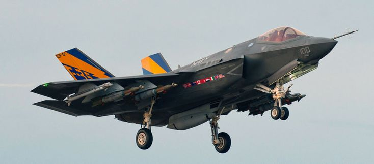 Not very stealthy: first image of F-35C carrying full load of weapons (externally).On Jan. 13, RAF Squadron Ldr. Andy Edgell flew first F-35C, the U.S. Navy's carrier variant of the Joint Strike Fighter, with external GBU-12s, AIM-9Xs air-to-air missiles and the centerline gun pod.Obviously, a radar-evading plane loses some of its stealthiness with such an external payload.Image credit: Andy Wolfe via Lockheed Martin