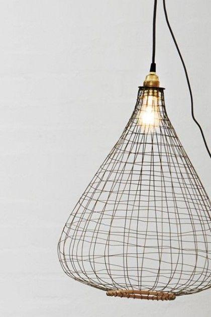 Wire & Bamboo Lamp Shade - Lighting