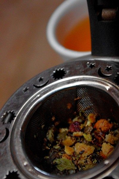A Pot of Herbal Tea for the Common Cold (Recipe: Tulsi Rose Hip Tea)