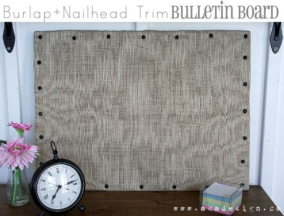burlap party | Burlap + Nailhead Trim Bulletin Board {DIY Link Party #27} - aka ...