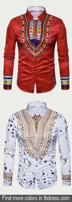 Lapel Ethnic Floral Printed Men's Shirts