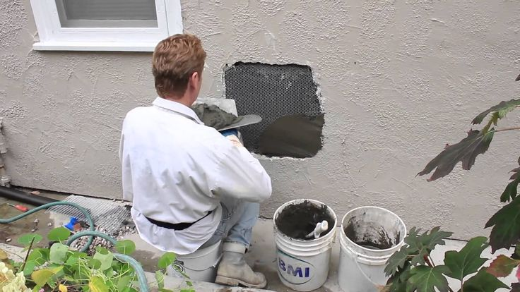 Repair a hole in a stucco wall caused by plumbing repairs