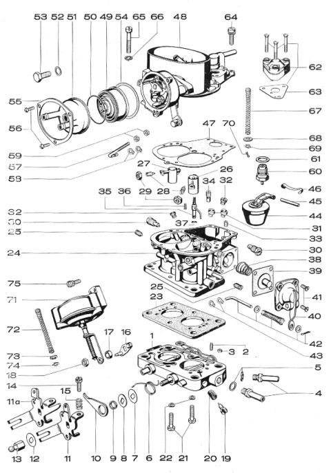 solex sr 35 posi 2 carburetors  exploded view