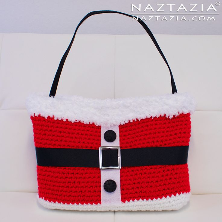 DIY Free Pattern and YouTube Tutorial Video for Crochet Santa Handbag (Bolsa) for Christmas (Navidad) by Donna Wolfe from Naztazia