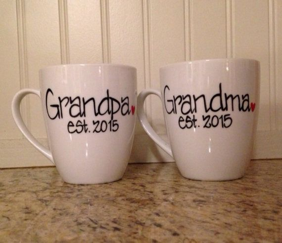 Grandma and Grandpa Coffee Mugs personalized with date