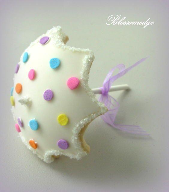 Polka Dot Umbrella Cookie | Cookie Connection
