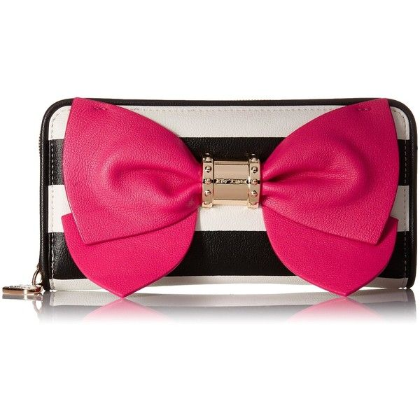 Betsey Johnson Ready Set Bow Wallet Clutch (£47) ❤ liked on Polyvore featuring bags, handbags, clutches, pink bow purse, betsey johnson handbags, pink handbags, pink clutches and bow purse