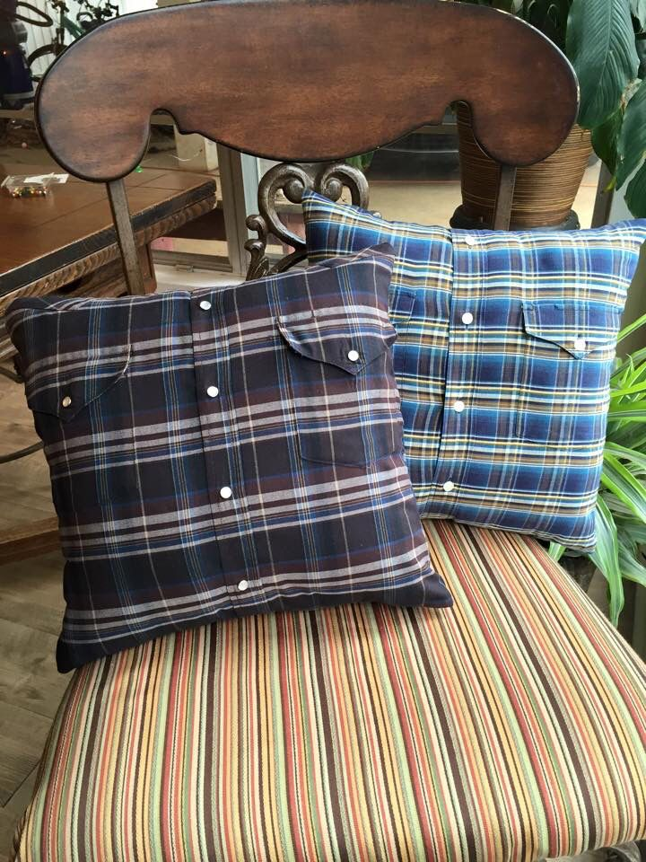 Shirt pillows: made from my late father-in-laws shirts he wore often.