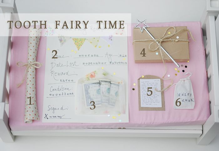 The Tooth Fairy Left: 1. A brand new toothbrush 2. An official receipt 3. A fabric lined glassine bag to hold the $! 4. Fairy (dental) floss and tiny treasures 5. A Teeny Tiny Letter (copy of my handwritten letter reduced by 75%) 6. Fairy Dust (glitter & confetti)