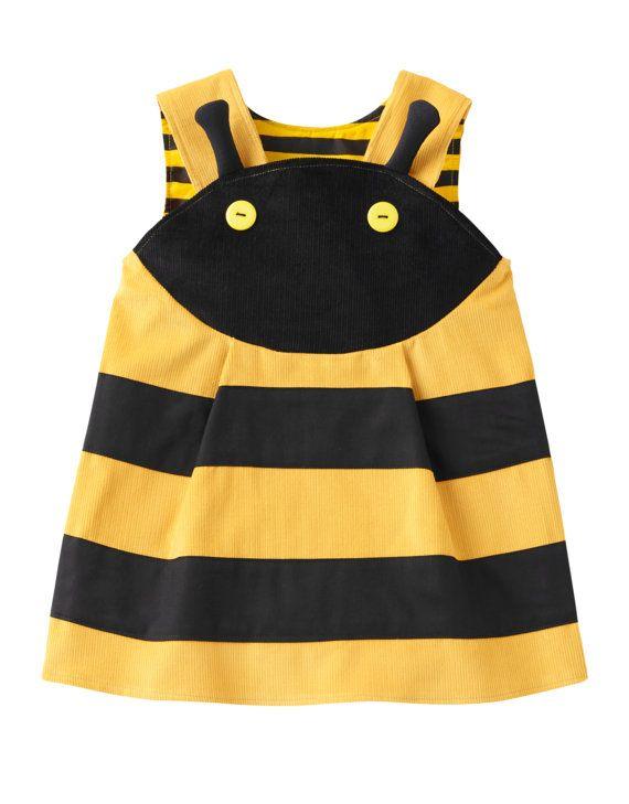 BEE-Girls Dress-yellow & black cotton por wildthingsdresses en Etsy