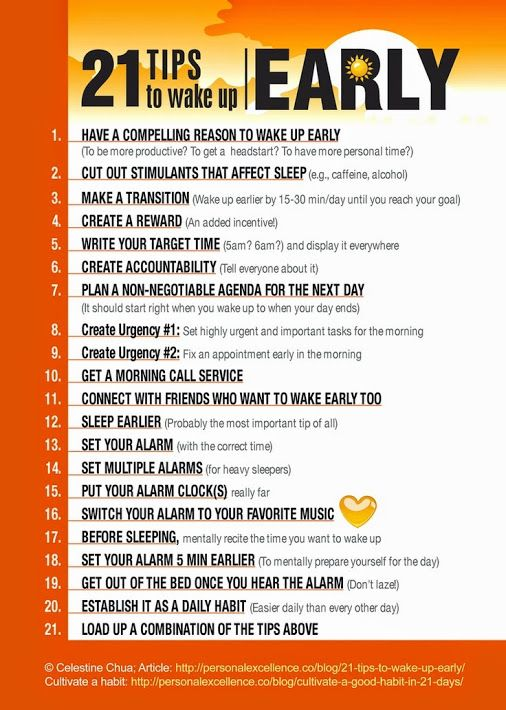 Want to know how to wake up early? Here are 21 tips to get you moving! Pin the graphic, or buy the poster. No more excuses!