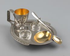 WMF - Art Nouveau silver plated egg breakfast set, circa 1910-1918