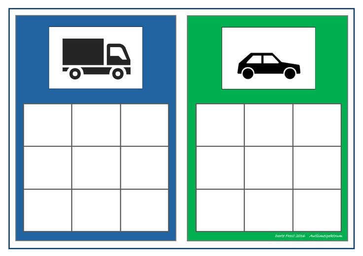 Board for the car/truck sorting game. Find the belonging tiles on Autismespektrum on Pinterest. By Autismespektrum