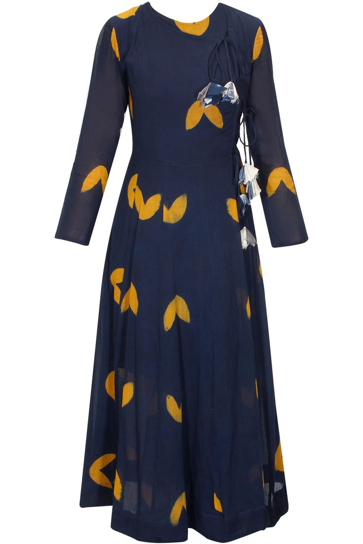 Navy and mustard bird printed crossover dress available only at Pernia'S Pop Up Shop.