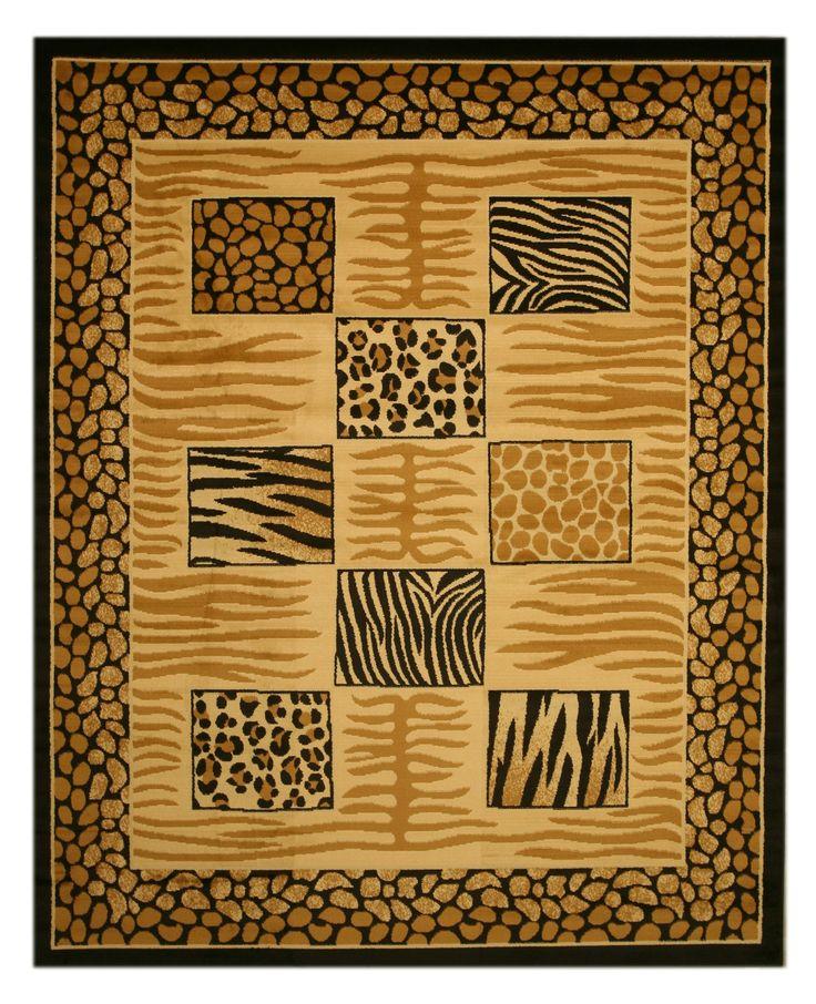 Home Goods Rugs Avalon Charcoal Ivory Traditional Rug Animal PrintsArea