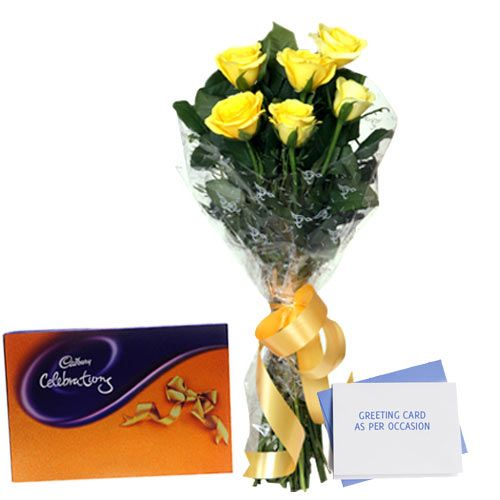 This gift hamper is perfect for your lover or also for that someone on whom you have a crush on, it will make them very happy and can open a way for you to enter their heart. It includes 6 yellow roses in a cellophane packing with yellow ribbon bow, Cadbury Celebration pack 100 gm & a greeting card as per occasion. Bunch of 6 Yellow Roses, Celebration Pack with Greeting Card. FNP.Com