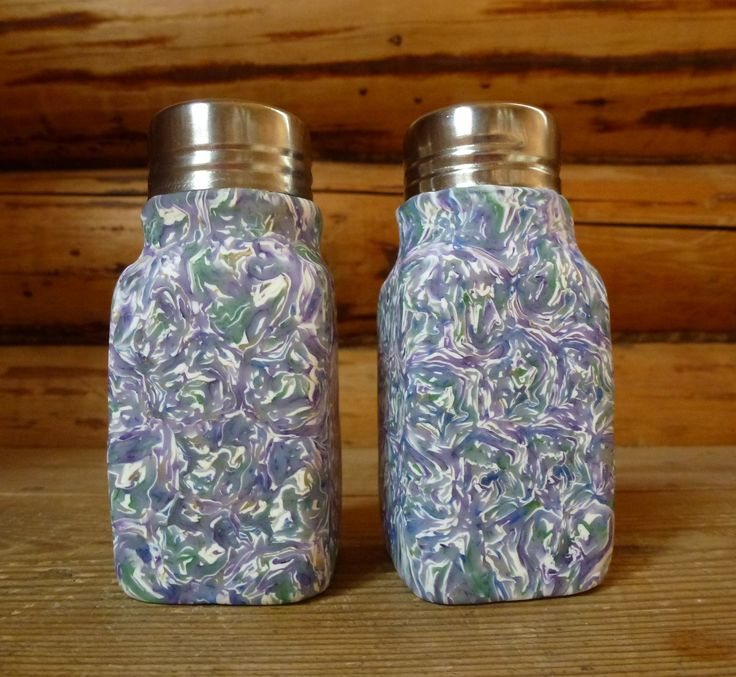 Salt and pepper dispenser made from polymer clay on glas