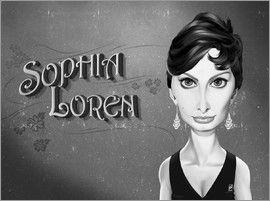 Rob Snow | caricatures - Sophia Loren art | decor | wall art | inspiration | caricatures | home decor | idea | humor | gifts