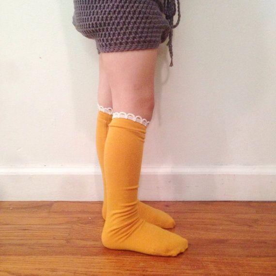 knee high socks baby toddler girl solid color by makersmarketshop