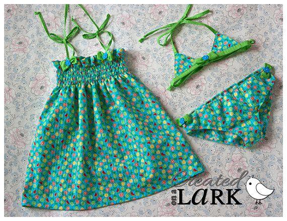 SUNDRESS SWIMWEAR BIKINI Gift Set  Girls by CreatedOnALark on Etsy - sewing pattern by PUPERITA