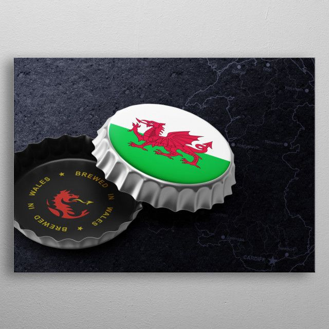 Wales Beer Cap Metal Poster Print Moon Calendar Studio Displate Cool Artwork Print Artist Beer Caps