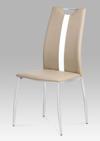 AC-1296 CAP  Atraktivní židle za nízkou cenu bude ozdobou každé jídelny či kuchyně. Provedení koženka v barvě cappuccino s bílým pruhem na opěráku v kombinaci s pochromovaným madlem a podnoží. Praktické madlo zajistí snadnou manipulaci. Nosnost židle je do 100 kg.