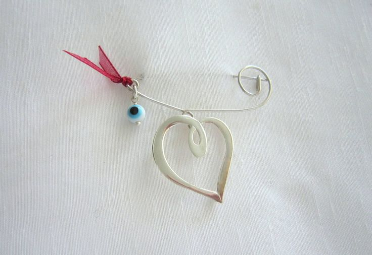 handmade heart safety pin by KORMENTZACREATIONS on Etsy