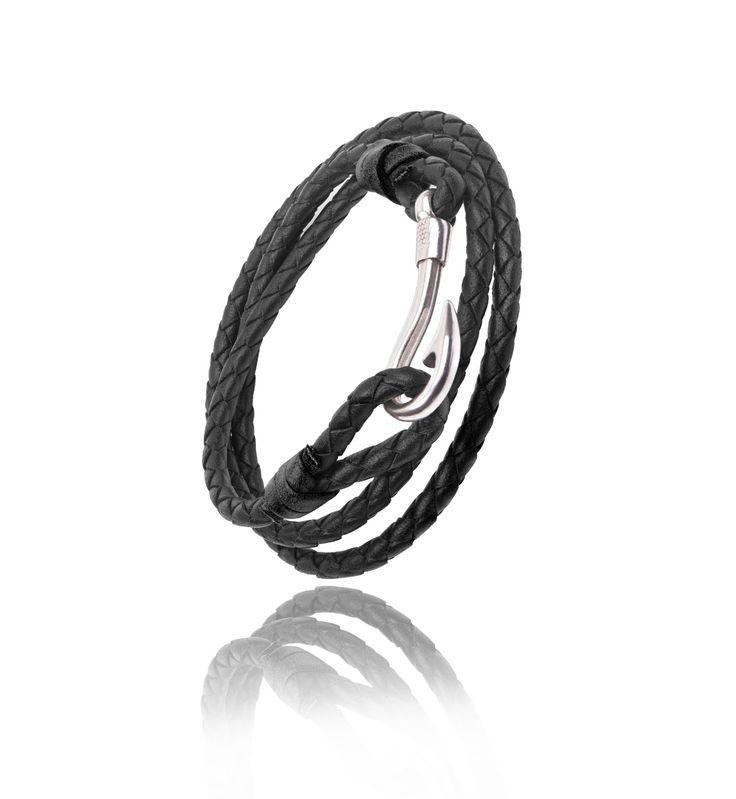 Bracelet en cuir Marron 3 tour avec Hameçon - Bijoux Privés ! #jewels #hook #silver #argent #hamecon