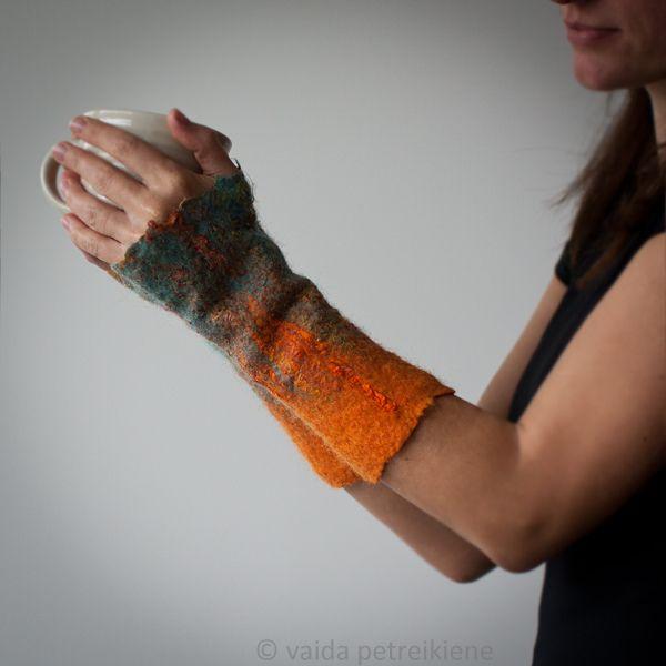 Felted Fingerless Gloves / Arm Warmers / Wristlets - Orange Summer Dreams by , via Flickr