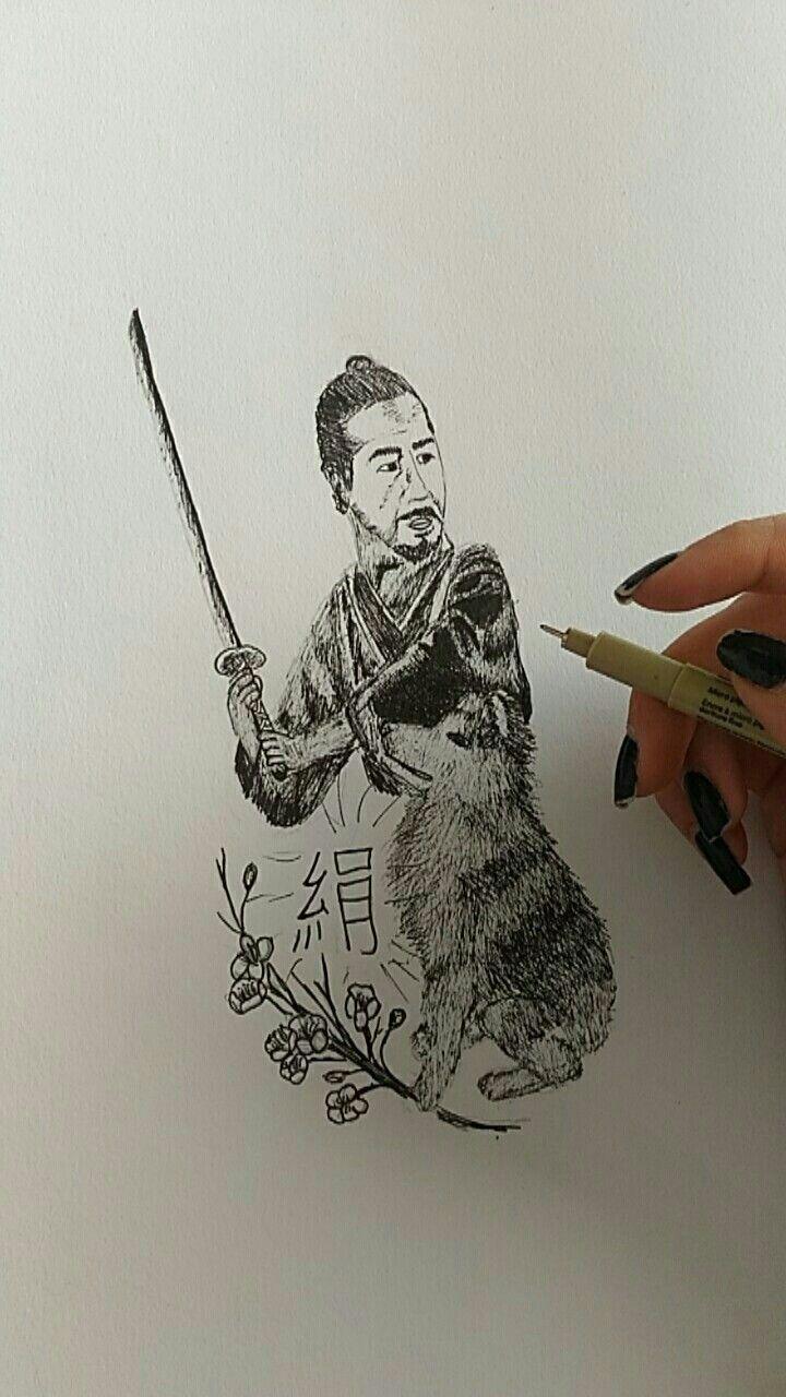 Samurai and Anita inu #samurai#akitainu#micron#akita#drawing#drow