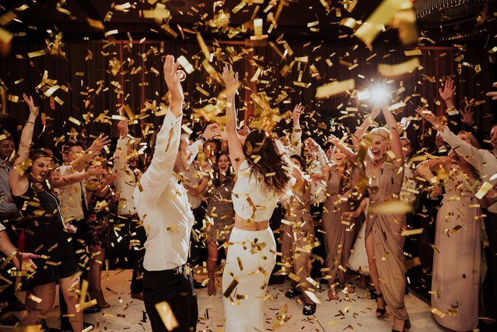 Confetti Just Makes The Party 10x More Fun Image By Rob August Photography El Wedding Playlist Reception Wedding Reception Photography Dance Floor Wedding