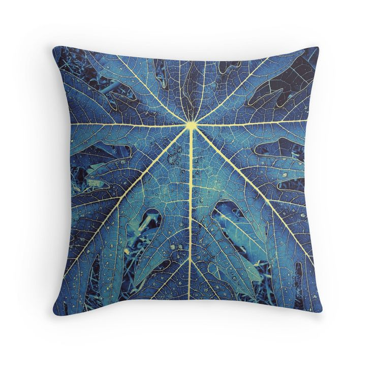 """""""Blue and Yellow 9 fingers leaf """" Throw Pillows by alfreya 