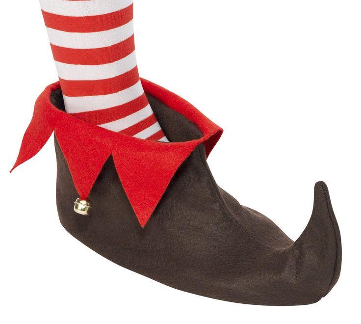 Zapatos de duende de Navidad para adulto: Zapatos puntiagudos de duende de Navidad para adulto, de imitación de fieltro espeso con reverso rojo. Llevan pequeños cascabeles cosidos en el reverso. Accesorio perfecto para...