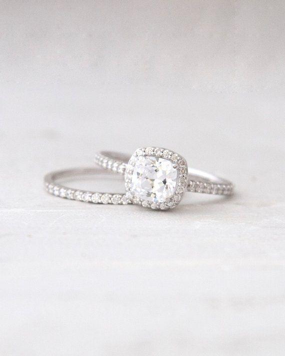 classic design. Antique Square Forever Brilliant Moissanite Conflict Free Diamond Halo Engagement Wedding Ring Set