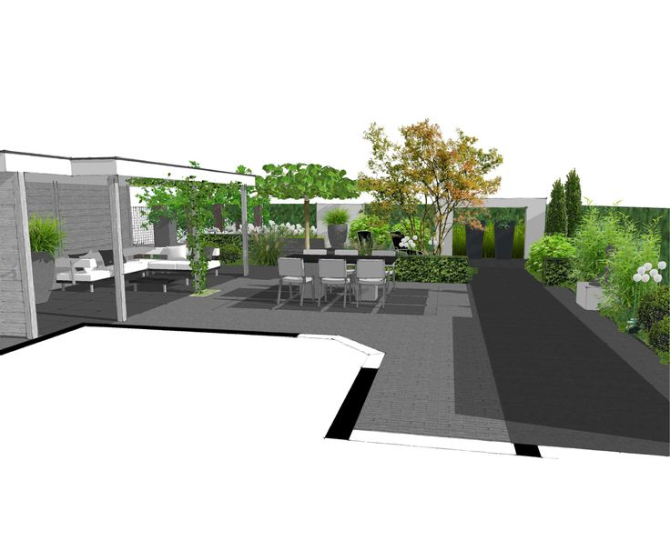 Tuinontwerp SketchUp tuin met Platoflex elementen