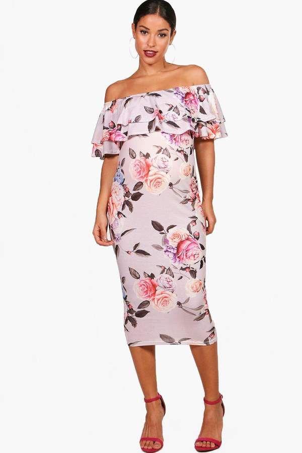 327f946633bb $20 | Perfect maternity dress for Spring! | boohoo Maternity Nina Off The  Shoulder Ruffle Dress | maternity fashion | maternity dress | maternity  wardrobe ...