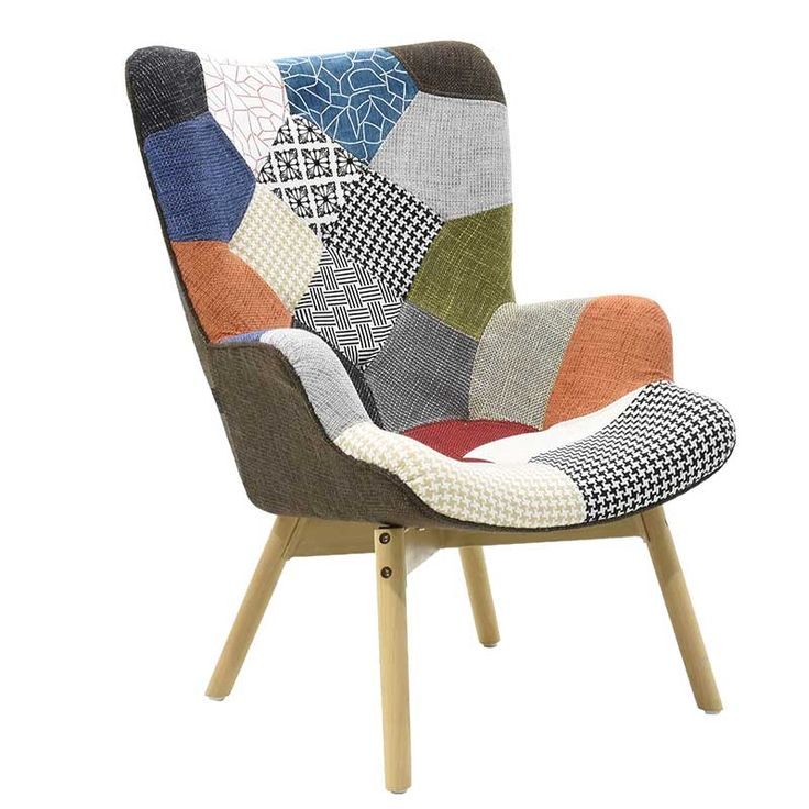 Fabric armchair pachwork