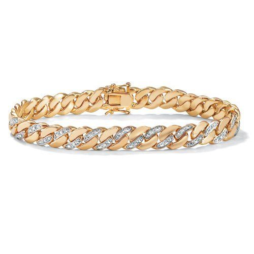 "PalmBeach Jewelry Mens Diamond Accent 14k Yellow Gold-Plated Curb-Link Bracelet 8 1/2"" Palm Beach Jewelry. $119.99. Save 57% Off!"