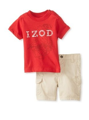 61% OFF Izod Kid's Boys Newborn 2-Piece Short Set (Red)