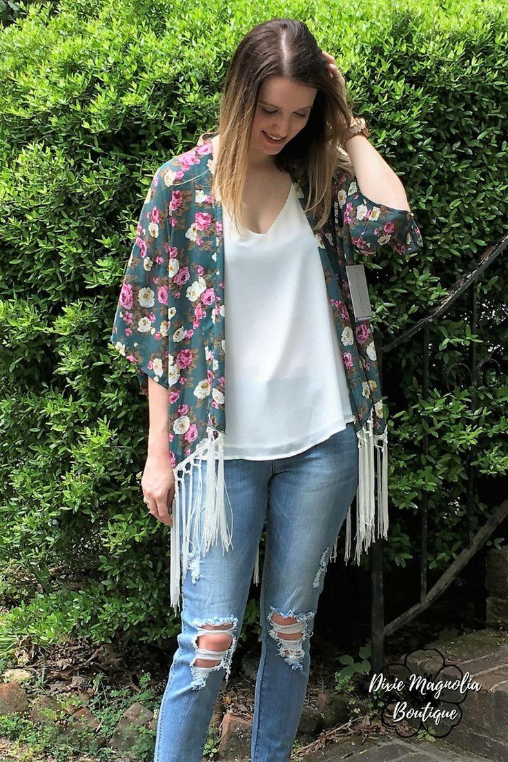 Don't Stop Believin' Floral Kimono: Hunter Green
