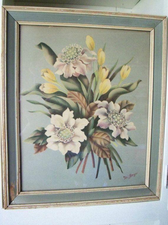 Vintage de Jonge Floral Print 1940s Spring Flowers by ...