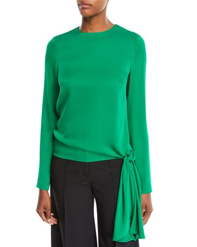 dd16d9cc8753d Milly Tie-Hem Long-Sleeve Stretch-Silk Blouse