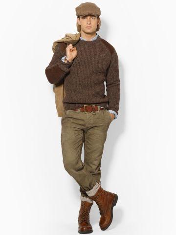 Polo Ralph Lauren - Pullover aus Rohwolle mit Aufnähern (Olive Ragg) -  329,00 €