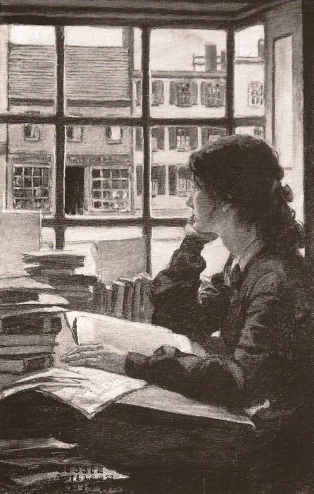 Jessie Willcox Smith (1863-1935), American illustrator / young woman reading or studying at desk filled with books, gazing out of window