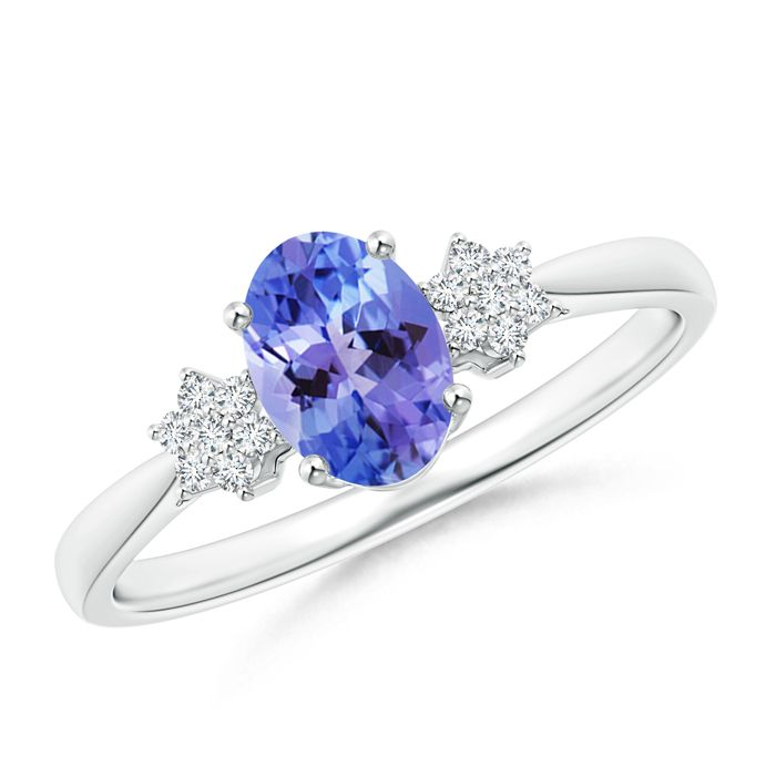 Angara Solitaire Double Claw Tanzanite Trinity Ring with Diamond Yellow Gold TTh72w