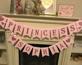 SALE Pink and Gold First Birthday Banner. Princess birthday