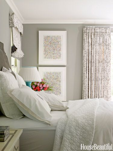 Calming bedroom. Love this shade of gray.